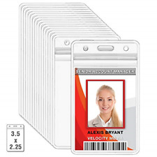 10 Pack Plastic ID Badge Holders Vertical Hanging Card Holder with Zipper Clear