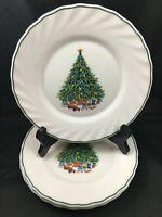 """set of 4 Salem NOEL Porcelle Christmas Tree 7 3/4"""" Salad Plates"""