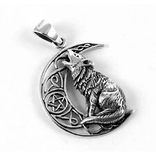 STERLING SILVER HOWLING WOLF ON MOON PENTACLE PENDANT