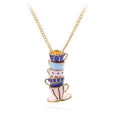 Woman Long Sweater Chain Tea Cup Pendant Necklace Enamel Charm Jewelry Gif Brp3