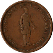 1837 Lower Canada - Quebec 2 Sous (1 Penny) Bank Token KM#Tn10 Mintage 120K