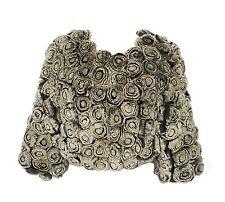 $3400 Genuine Rabbit FUR Rosette Embroidered Cropped Jacket Stole Bolero Sm UK4