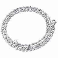 10K White Gold 2MM Beaded Typhoon Moon Cut Italian Chain Necklace 16 - 24 Inch