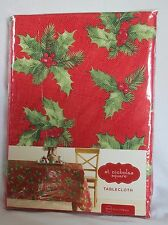 "St. Nicholas Square 70"" ROUND TABLECLOTH Red with Holly Christmas Holiday Decor"