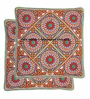 Floral Suzani Embroidery Pillow Case Indian Decorative Cotton Cushion Cover 2 PC
