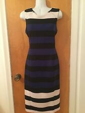 EUC By H&M Color Block Navy & Black Midi Dress Travel  Friendly Sz M Gorgeous