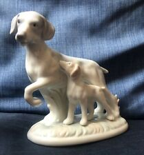 St Michael M&S Blue Porcelain Dog and Puppy Figurine Ornament Made in Japan VGC