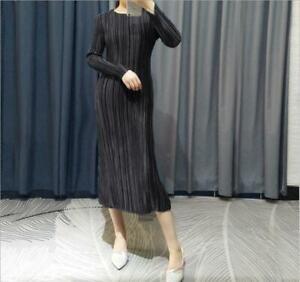2021 new ISSEY MIYAKE PLEATS PLEASE mid-length satin slim dress