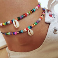 Women Boho Anklet Colorful Mixed Rice Beads Shell Foot Chain Bracelet Jewelry