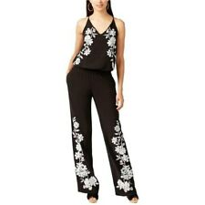 INC International Concepts Floral Embroidered Jumpsuit Black, Small #4973