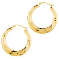 14k Yellow Gold Shiny Textured Graduated Round Hoop Earrings Snap Closure 28mm