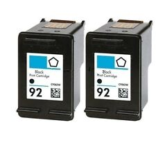 2 Pack inkjet for HP 92 C9362WN Black Ink Cartridge