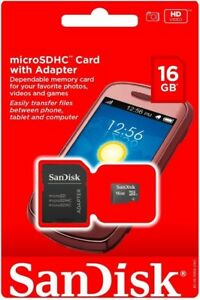 SANDISK 16GB Micro SD Card MicroSD SD SDHC TF Flash Memory Card adapter New