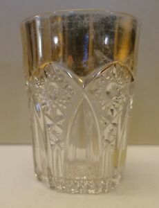 8maJ53 EAPG PRESSED GLASS ANTIQUE TUMBLER, gilt edge