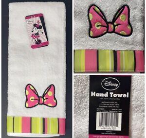 "Disney Minnie Mouse Brites 100% Cotton Hand Towel, White & Pink, 16""X27"" NWT"