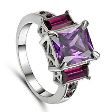 Size 9 Purple Amethyst CZ Crystal Women's 10Kt White Gold Filled Wedding Ring