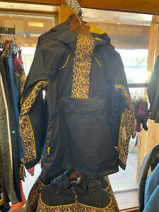 Women's Envy Anorak Jacket color Black/Leopard Print size small