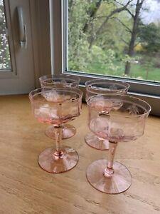 4 Vintage Pink Depression Glass Etched Floral Wine Glasses Champagne Glasses