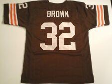 UNSIGNED CUSTOM Sewn Stitched Jim Brown Brown Jersey - M, L, XL, 2XL