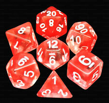 New 7 Piece Translucent Clear Red Nebula Polyhedral Dice Set – Red Dice Bag
