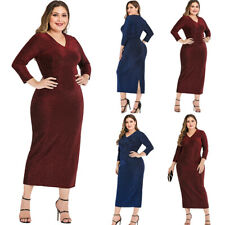 Women V-Neck Long Sleeve Bodycon Dress Sequin Glitter Party Cocktail Loose Dress