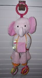 Carter's Pink Plush Elephant Car Seat Toy Rattle Crinkle Legs 2013 Teether