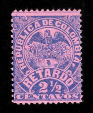 "COLOMBIA (MI 117C) 1892 COAT OF ARMS INSCRIPTION ""RETARDO"" 2½C LATE FEE MH-OG"
