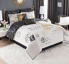 Bedding Queen Size Paris Comforter Set Decor Bedroom French White Gold Black 8pc