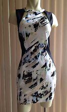 NAMELESS Black White Cotton Sleeveless Abstract Print Body Con Dress Sz L