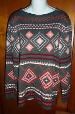 Talbots Gray Pink Argyle Geometric Wool Blend Sweater 1X New