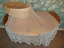 Stunning 50% cashmere 50% silk baby shawl / blanket.  col. WHITE