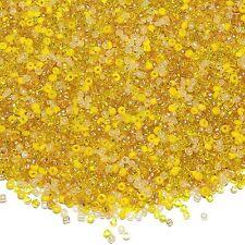 SB3944h Sunshine Yellow 10/0 2mm Cream & Golds Glass Seed Bead Premium Mix 1oz