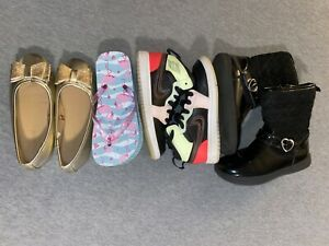 Mixed Lot Girl Size 11-Toddler (Carter's,Nike Jordan1,Flip-flop & Gold Shoes)