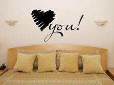 LOVE YOU Corazón Frase Lema Dormitorio Cuarto De Estar ADHESIVO pared imagen