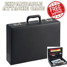 Leather Briefcase Mens Messenger Bag Attache Black Hard Case Business Portfolio