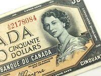 1954 Canada 50 Fifty Dollar Circulated AH Devil Face Beattie Coyne Banknote R185