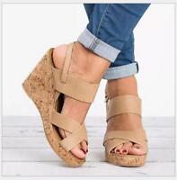 Womens Wedge High Heels Platform Slingback Sandals Open Toe Summer Beach Shoes