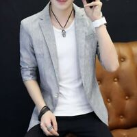 2019 Men Coat Tops One Button Slim Fit Youth Korean Summer Casual Blazer Jackets
