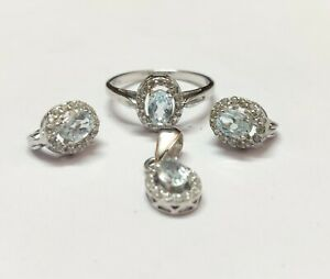 Silver Blue Topaz Jewelry Set Solitaire 2.2 Ct Natural Sky Topaz Set