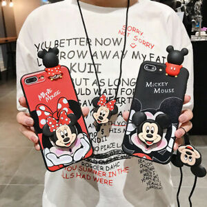 For Samsung S20+ Note 10+ Cute Disney Minnie Mickey Case Cover & Stand & Strap