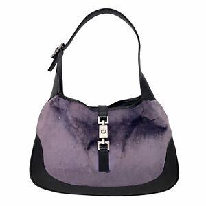 Vintage Gucci Purple Velvet Black Leather Gunmetal HW Jackie Hobo Shoulder Bag