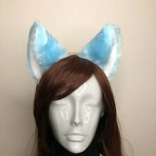 Big Cat Ear Kitty Headwear Light Blue Furry White Inside Animal Headband Costume