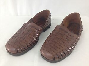 Sunsteps Mens 9.5 Brown Handwoven Leather Mexican Huarache Fisherman Sandals