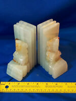 Art Deco Figural Marble Alabaster Bookends Tribal Statue VTG Tiki