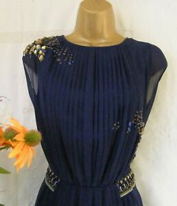 """*****MONSOON PRE-OWNED """"EMBELLISHED NAVY"""" DRESS SIZE 16*****"""