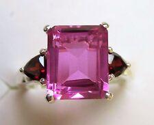 Radiant Orchid Quartz & Garnet Ring, 925 Sterling Silver, size 7 --  4.5 cts