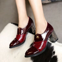 Womens Chunky Block High Heels Pointed Toe Slip On Oxfords Patent Leather Shoes