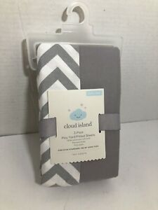 Cloud Island 2 Pack Play Yard 100% Cotton Gray & White Fitted Sheets BRAND NEW