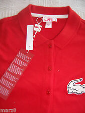 NWT Lacoste L!ve Red 3 Button Tab Polo shirt Misses Size Med / runs small