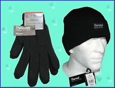 MENS THERMAL KNITTED THINSULATE INSULATION 40gram GLOVES & HAT SET BLACK WARM
